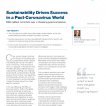 Sustainability Drives Success in a Post-Coronavirus World