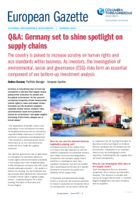 Q&A: Germany set to shine spotlight on supply chains