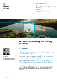 ESG is integral to our long-term investing philosophy