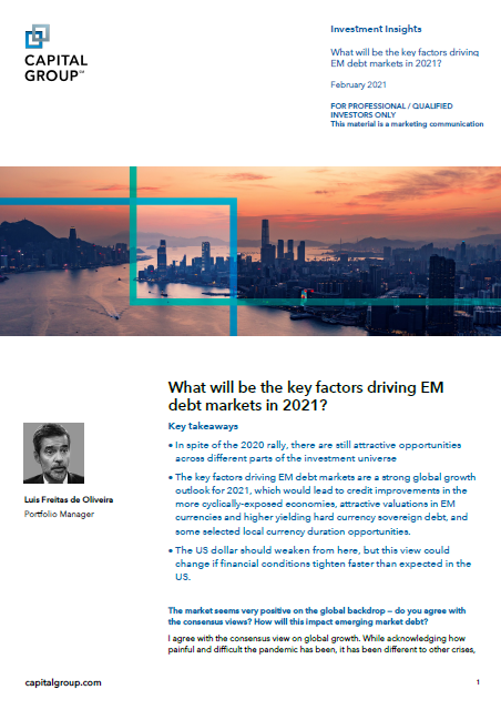 What will be the key factors driving EM debt markets in 2021?
