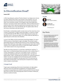 Is Diversification Dead?