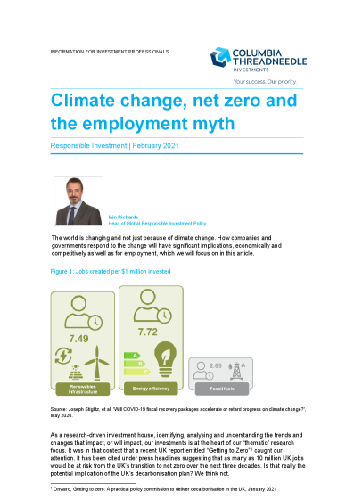Climate change, net zero and the employment myth