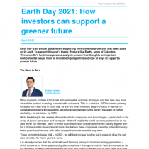 Earth Day 2021: How investors can support a greener future