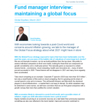 Fund manager interview: maintaining a global focus