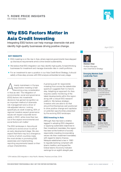 Why ESG Factors Matter in Asia Credit Investing