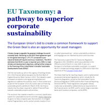 EU Taxonomy: a pathway to superior corporate sustainability