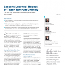 Lessons Learned: Repeat of Taper Tantrum Unlikely