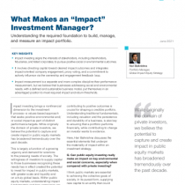 """What Makes an """"Impact"""" Investment Manager?"""