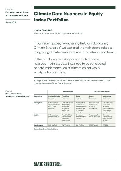 Climate Data Nuances in Equity Index Portfolios