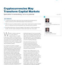Cryptocurrencies May Transform Capital Markets