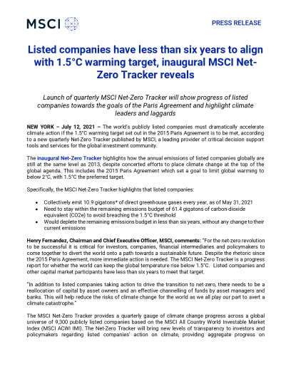Listed companies have less than six years to align with 1.5C warming target, inaugural MSCI Net-Zero Tracker reveals