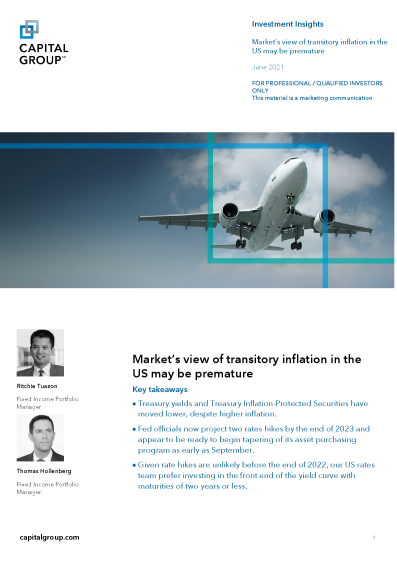 Market's view of transitory inflation in the US may be premature