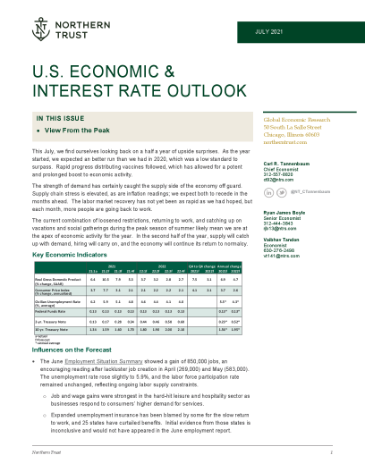 US Economic & interest rate outlook
