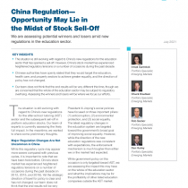 China Regulation – Opportunity May Lie in the Midst of Stock Sell-Off