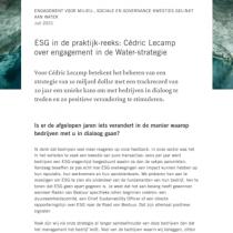 ESG in de praktijk-reeks – Cedric Lecamp over engagement in de Water-strategie