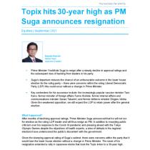 Topix hits 30-year high as PM Suga announces resignation
