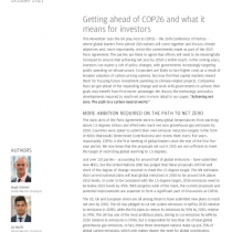 Getting ahead of COP26 and what it means for investors